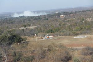 Vic Falls heli pad - not hard to spot where the falls are.