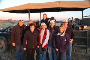 The Australian & Kiwi contingent gather for Sundowners at Shibula, Botswana