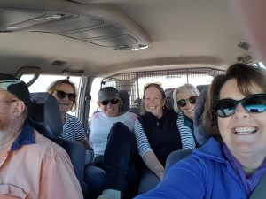 Very squished car trip for the girls into Warrawong at Wilcannia.