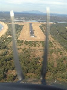 Calling in for some CTAF practice, we get a birds eye view in C182 OBF approaching Moruya.