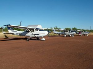 The Curtis fleet - always at home on the red dust. Their student safaris are a brilliant way of introducing student pilots to navigating, particularly across featureless terrain.