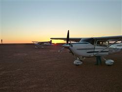 Last light tie-downs at Andamooka airstrip