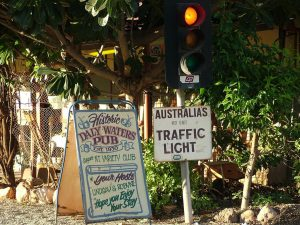 Australia's most remote traffic light. Well I guess you've gotta be famous for something.