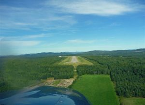Landing at the picturesque airstrip of Charlevoix on the St Lawrence River