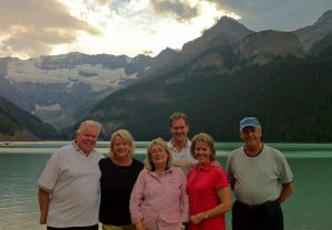 The crew at the magnificent Lake Louise in British Columbia, a day out from starting our air safari.
