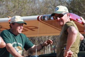 Kitfox pilot, Kobus, with our tour leader, Dave Vanderspuy of African Aero Safaris (right).