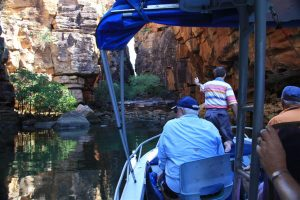 Drifting into our lunch spot. Kevin took us to the most incredibly beautiful water-hole for a swim.