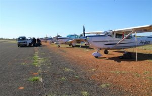 Plenty of parking at the Louth airstrip. No fuel, but Avgas available at nearby Bourke.