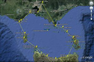 Bass Strait Island Hopper route as we flew it, with Lilydale Flying School, Victoria