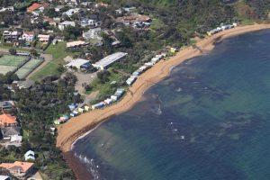 Coloured beach huts Port Phillip Bay