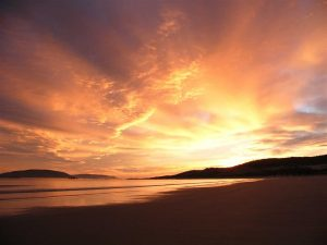 Sunrise over the most northern slice of Flinders Island