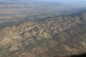 Approaching the eastern side of the Flinders Ranges of South Australia.