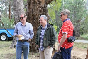 Rossy, Jono Grahame and Greg Tait contemplating a syndicate purchase