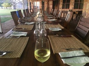 Everything's BIG at Bullo. The dining table ready for action on our last night.