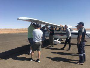 Under the wing briefing at Birdsville