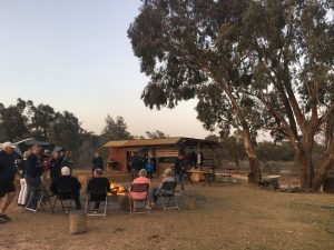 Campfire scene at final night drinks at Warrawong on the Darling.