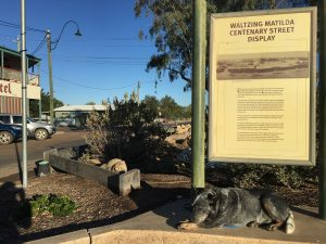 If I was looking for a more iconic photo, I couldn't if I tried. A sleepy blue heeler under the Waltzing Matilda in the main street says it all really.
