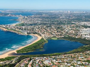 Fly up the coast a little, and you'll come to Narrabeen Lake, a useful landmark when you're getting your bearings.