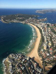 Today's Harbour Scenic flight starts off at the famous Manly Beach.